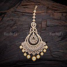 Designer gold plated zircon maang tikka studded white zircon stones and hanging pearls #maangtikka #tikka #zircon #jewellery #kushalsfashionjewellery