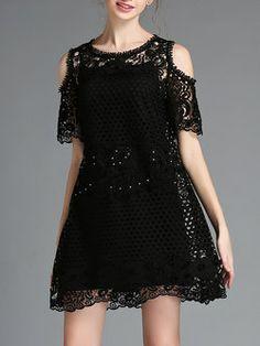 Black Casual Off-shoulder Plain Two Piece Mini Dress
