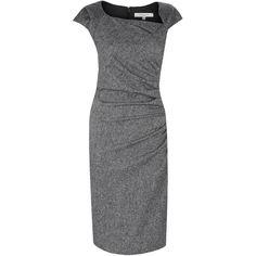 L.K. Bennett Davina Dress ($225) ❤ liked on Polyvore featuring dresses, платья, cap sleeve short dress, ruched dress, tailored dresses, cap sleeve dress y asymmetrical dress