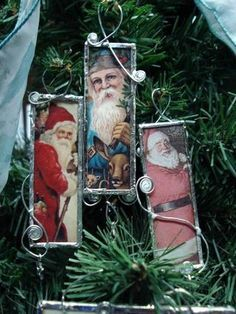 Santa Claus is coming to town... {Tutorial link added} - OCCASIONS AND HOLIDAYS I have some tin and copper sheeting that could be formed around one glass piece and then wire wrap for a hanger. Will have to try this as I don't solder
