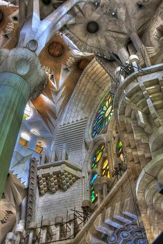 Gaudi's architectural masterpiece rooftop: Sagrada Familia, Barcelona