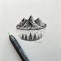 """Sam Larson """"MOUNTAIN ISLAND #art #illustration #mountains"""""""