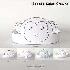 Set of 5 DIY Printable Safari / Jungle Animal Paper Crowns: lion, monkey, tig. Safari Hat, Jungle Safari, Jungle Animals, Safari Crafts, Zoo Crafts, Birthday Party Favors, Diy Birthday, Birthday Crowns, Baby Shower Favors