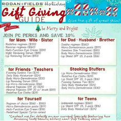 Awesome gift ideas from Rodan + Fields for the entire family!! Go to my page to find out more.    Http://jdanaher.myrandf.com Jodidanaher@gmail.com