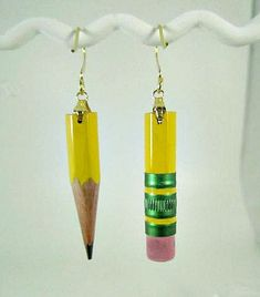 "Ticonderoga Pencil Earrings- ""Tic's"", your basic yellow pencil earrings. $6.00, via Etsy."