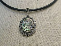 """Sterling  Marcasite Cameo Necklace on Round 3mm Rubber Cord, 18"""", faux Abalone #SignedA #Pendant"""