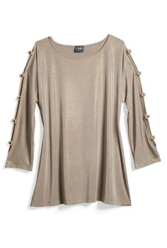 Chico's Travelers Liquid Shimmer Ring Sleeve Top