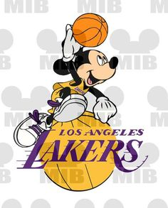 SLAM DUNK Mickey - LA Lakers - Digital Image - Choose Your Favorite Basketball Team  - Great Idea for iron ons for Shirts and Wall Prints!