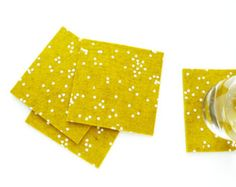 Golden Wool Felt Coasters - White Confetti Pattern - Set of four