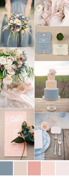 dusty blue and peach pink wedding color ideas                                                                                                                                                                                 More