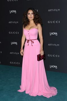 Actress Salma Hayek attends LACMA 2015 Art+Film Gala Honoring James Turrell and Alejandro G Iñárritu, Presented by Gucci at LACMA on November 7, 2015 in Los Angeles, California.