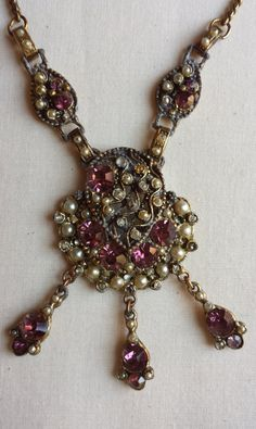 """Vintage choker 14.5"""" necklace with amethyst color faceted stones, faux pearls and rhinestones set in goldtone metal, unique fastener."""
