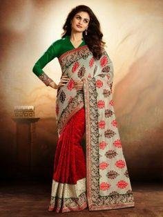 Red Banarasi Jacquard Saree With Zari Work www.saree.com