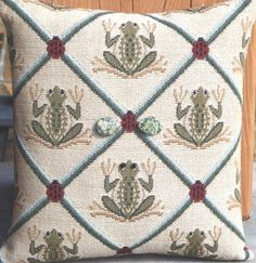 Frog Tapestry Lavender Filled Pillow by Pillow Talk of Montana / Froggie / Ladybug / Ladybugs / Frogs