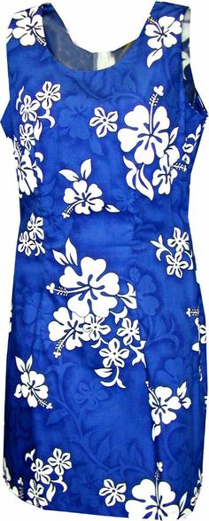 White Hibiscus Ladies Hawaiian Print Tank Dress Blue, Womens Tropical Hawaiian Dresses Shirts Clothing, 315-3156_Blue - Paradise Clothing Company