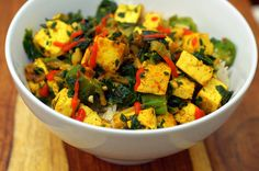 tofu, spinach and okra stirfry