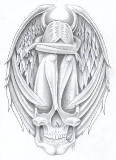 tribute to by markfellows on DeviantArt * Angel Fantasy Myth… Angel Of Death Tattoo, Angel Tattoo For Women, Angel Sketch, Angel Drawing, Badass Drawings, Cool Art Drawings, Skull Tattoos, Body Art Tattoos, Valkyrie Tattoo