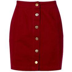 Boohoo Kelly Button Through Coloured Denim Skirt (66 BRL) ❤ liked on Polyvore featuring skirts, bottoms, red midi skirt, denim mini skirt, pleated maxi skirts, red mini skirt and button-front denim skirts