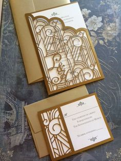 Laser Cut Wedding Invitations Monogram Art Deco by CelineDesigns