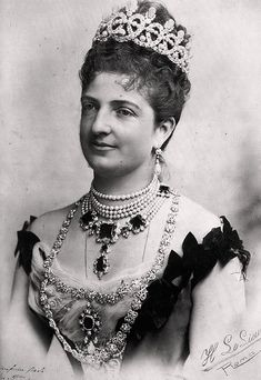 Queen Margherita of Italy, wearing her pearl and diamond  tiara.