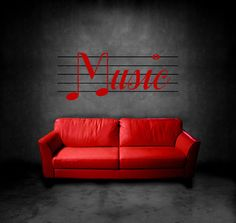 Music Wall Decal, Home Decor, Vinyl Sticker, Music Decal. $26.99, via Etsy.