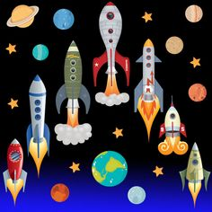 Space Rocket Ship Stars Planets Nursery Wall Stickers Kids Vinyl Wall Decals R2