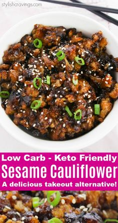 Low Carb Keto Friendly Sesame Cauliflower - A delicious takeout alternative that everyone will love! Low Carb Keto Friendly Sesame Cauliflower - A delicious takeout alternative that everyone will love! Keto Foods, Low Carb Vegetarian Recipes, Low Carb Recipes, Diet Recipes, Vegan Recipes, Clean Eating Vegetarian, Vegetarian Italian, Paleo Vegan, Snacks Recipes