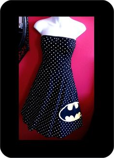 Na Na Na Na Na BATMAN Polka Dot Strapless Dress by RatherxPeculiar, $70.00- I NEED THIS!!