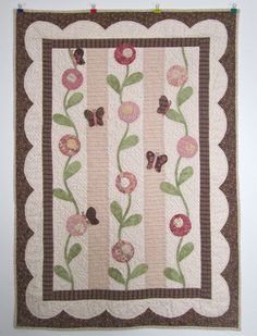 Pink & Brown Hand Applique Baby Girl Quilt by HappierThanABird, $150.00
