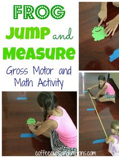 Frog Jump and Measure Activity -Kids jump from a starting point and tape their frog to the place where they landed. Teacher can use this to teach measuring and counting, in addition to developing gross motor skills.  PD-3K- 1.1:Move with some balance and control while walking, running, jumping, marching and hopping