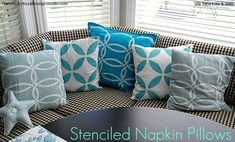 Ideas for Stenciled Fabric Pillows using Royal Design Studio Stencils | Project by Tatertots & Jello