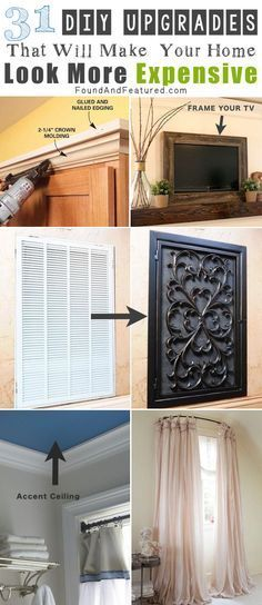 DIY, cheap and easy ways to make your home look more expensive... LOVE these genius upgrades! (Diy Curtains Cheap)