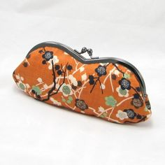 Sunglass Eyeglass Case - Plum Flowers on Orange