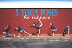 Pin it! 5 Yoga poses for runners. Click the pic to enlarge. Wearing: Asics sneakers, lululemon shorts and headband, j crew painter's tee
