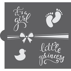 It's A Girl word collection has been designed to work on any confectionery decorating! You can use this stencil with airbrushing and royal icing. Word Stencils, Custom Stencils, Nibbles Ideas, Old Saybrook, Must Have Tools, Baby Footprints, Confectionery, Little Princess, Place Cards