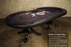Casino X2 Poker Table has custom graphics made to match the blue cup holders. This is a great table for 10 players and 1 dealer. Get a professional feel with the bill slot and chip tray. www.bbopokertables.com/casino-x2.html