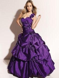 2013 Style Ball-Gown Sweetheart  Hand-Made Flower Sleeveless Floor-length Taffeta Grape Prom Dress _ Evening Dress.