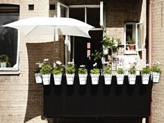 & with - Accessories Ikea Outdoor, Outdoor Plants, Outdoor Living, Outdoor Decor, Balcony Plants, Balcony Garden, Balcony Ideas, Ikea Exterior, Porches