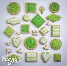 Suzie's Biscuits - Green and white sugar cookies.  Love the lily of the valley cookies.