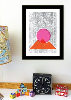 Sun Mountains Print Geometric Nature art print by strawberryluna, $25.00