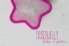 Kokos und Glitzer Duschjelly selbermachen - mit Kokosgeruch und einer Prise Glitter, das Duschjelly von Lush ganz einfahcselbermachen