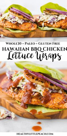 These Hawaiian Chicken Lettuce Wraps are the perfect sweet and savory wrap that has a chicken breast drenched in homemade BBQ sauce, grilled pineapples, red onions and ranch coleslaw. keto paleo Hawaiian Chicken Lettuce Wraps - Healthy Little Peach Whole Foods, Paleo Whole 30, Whole Food Recipes, Clean Food Recipes, Hawaiian Food Recipes, Freezer Recipes, Meal Recipes, Food Tips, Drink Recipes