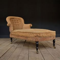 Ebonised French Napoleon III Period Chaise Lounge. Upholstery inclusive.