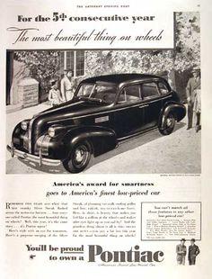 1939 Pontiac Sedan original vintage advertisement. You'll be proud to own a Pontiac.