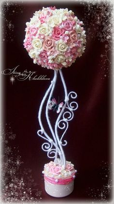 """Photo from album """"топиарий"""" on Yandex. Diy Flowers, Flower Vases, Paper Flowers, Flower Arrangements, Diy Craft Projects, Diy And Crafts, Topiary Centerpieces, Topiary Trees, Special Flowers"""