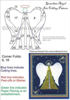 Guardian Angel Iris Folding Pattern on Craftsuprint designed by Anna Babajanyan - Lovely guardian angel Iris Folding pattern for Christmas cards and projects. Easy to cut and with simple folds. - Now available for download!