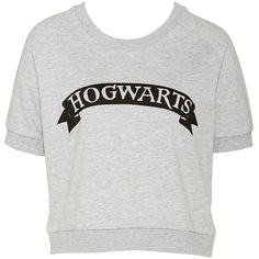 H.Potter Hogwarts Sweatshirt ($38) ❤ liked on Polyvore featuring tops, hoodies, sweatshirts, shirts, crew neck short sleeve shirts, crew neck shirt, crewneck shirts, short sleeve tops and crew shirt