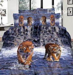 Amazing Lifelike Tiger in Water Print 4 Piece Bedding Sets/Duvet Cover/Comforter Sets Animal Print Bedding 3d Bedding Sets, Queen Bedding Sets, Comforter Sets, Linen Bedding, Bed Linens, Beach Bedding, Custom Bedding, King Comforter, Bed Covers