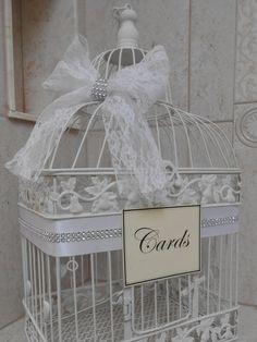 White Birdcage Wedding Card Holder / Card Box / Birdcage Cardholder