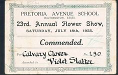 PRETORIA AVENUE SCHOOL WALTHAMSTOW 23RD ANNUAL FLOWER SHOW - COMMENDATION - in Collectables, Paper & Ephemera, Local Interest/ Topographical | eBay